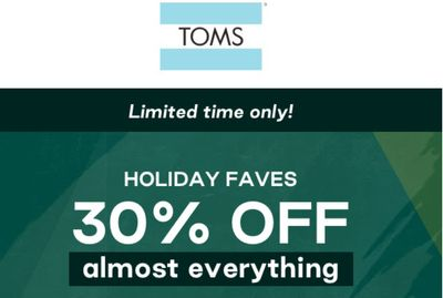 TOMS Canada Pre Black Friday Sale: Save 30% off Everything with Coupon Code