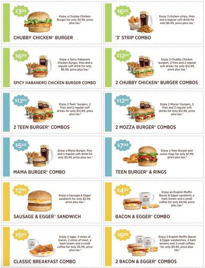 A&W Canada Coupons: Chubby Chicken Burgers for $3.99 + More Deals