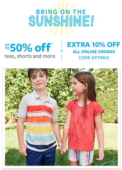 Carter's OshKosh B'gosh Canada Deals: Save Extra 10% Off Online Purchase with Coupon Code + 50% off Summer Faves!