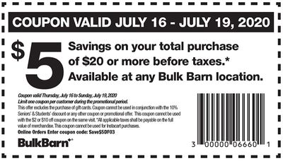 Bulk Barn Canada Coupons and Flyer: Save $5 Off Your Purchase of $20 with Coupons + More Offers