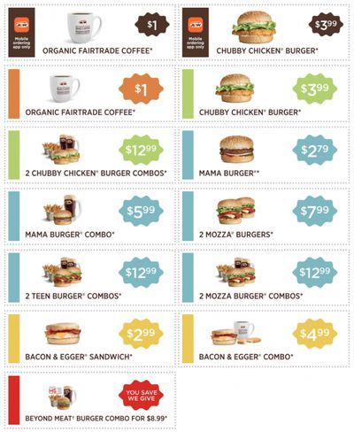 A&W Canada Coupons: Organic Fairtrade Coffee for $1 + Chubby Chicken Burger for $3.99 + More Coupons
