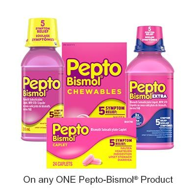 Save $1.50 when you buy any ONE Pepto-BismolProduct (excludes trial/travel size, value/gift/bonus packs)