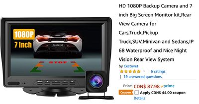 Amazon Canada Deals: Save 50% on Backup Camera 7″ Screen Monitor, Rear View for Cars with Coupon + 48% on Sprinkler Water Pad Outdoor Toys for Kids + More Offers