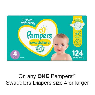 Save $2.00 when you buy any ONE Pampers Swaddlers Diapers size 4 or larger (excludes trial/travel size, value/gift/bonus packs)