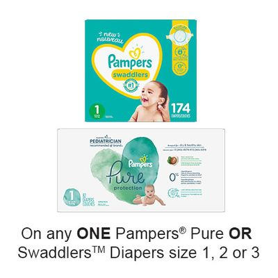 Save $3.00 when you buy any ONE Pampers Pure OR Swaddlers Diapers size 1, 2 or 3 (excludes trial/travel size, value/gift/bonus packs)