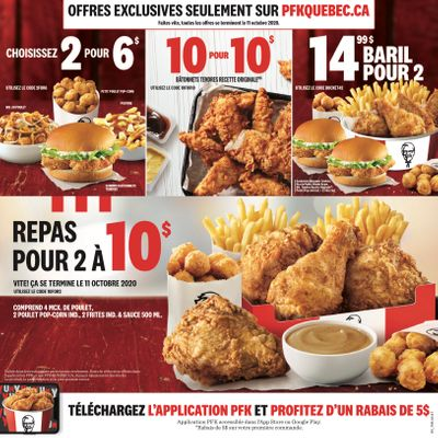 KFC Canada Mailer Coupons (Quebec), until October 11, 2020