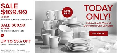 Hudson's Bay Canada Pre Black Friday One Day Sale: Today, Save 79% on MIKASA 40-Piece Boxed Dinnerware Set + Extra 10% – 20% off with Coupon Code, Today