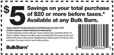 Bulk Barn Canada Black Friday Coupons and Flyer: Save $5 Off Your Purchase with Coupons + 20% off Select Items