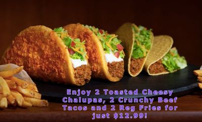Enjoy 2 Toasted Cheesy Chalupas,Crunchy Beef Tacos, Reg Fries for just $12.99! at Taco Bell Canada