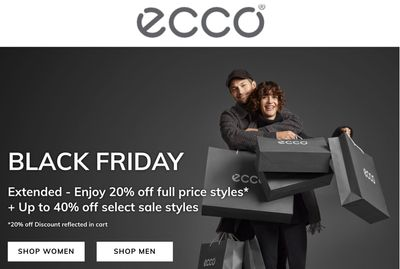 ECCO Canada Black Friday 2019 Sale Extended: Save Up to 40% Off Sale Styles + 20% off Full-Price Styles + FREE Shipping